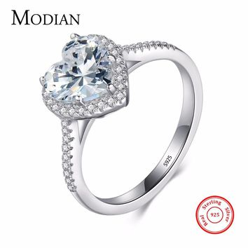 Heart shape 925 Sterling Silver jewelry Ring AAAAA Level CZ wedding band Engagement Rings for women girls bijoux With Gift Box