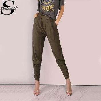 Sheinside Olive Tailored Harem Pants 2017 Casual Women Cigarette Buckle High Waist Pants Fashion Pockets Carrot Zipper Fly Pants
