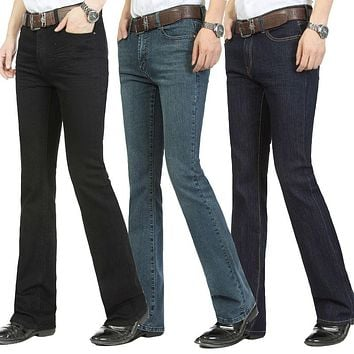 Free Shipping Male bell bottom denim trousers slim black horn Boot Cut jeans men's clothing casual Business Flares trousers 36