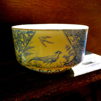 Antique Blue Birds Waste Bowl, Serving Candy Dish, Orientalia, Asian Design, Herons, Pheasant, Tea Party, Retro Cottage Decor