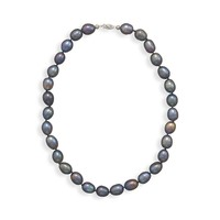 """16"""" Peacock Pearl Necklace with 14K White Gold Clasp"""