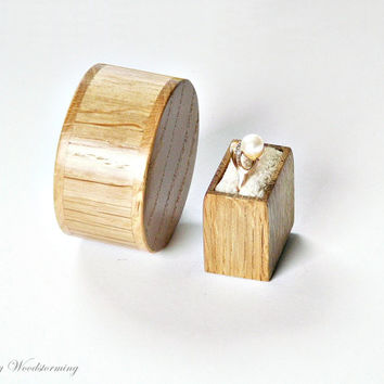 Unique engagement ring box - proposal ring box made of oak - Made to order