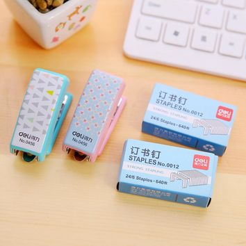 Candy Color Cute Mini Stapler 24/6 Plastic Portable Kawaii Stapler Paper Office Accessories Mini Binder Stationary Set
