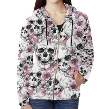 Skull & Flowers Design 1 Women's All Over Print Full Zip Hoodie