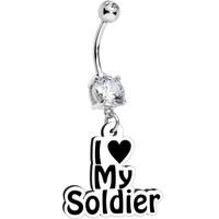 Handcrafted Clear Gem I Love My Soldier Dangle Belly Ring | Body Candy Body Jewelry