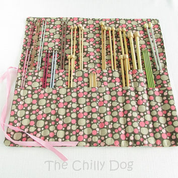 Roll-Up Knitting Needle Case - Pink and Brown Pebbles