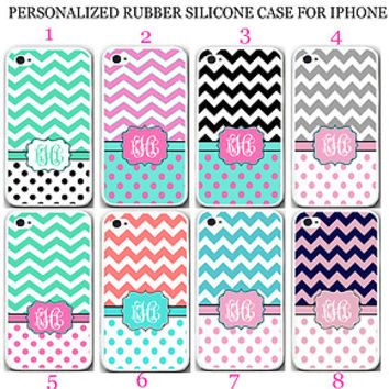 PERSONALIZED MONOGRAM PINK POLKA DOTS CHEVRON RUBBER CASE For iPhone 6S 6 5S SE