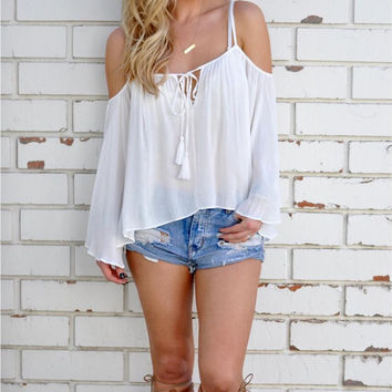 White Off Shoulder Long Sleeve T-Shirt with Drawstring