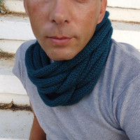 Scarf in soft wheat,Hand knitted  warmer,scarf necklace,scarf infinity, cowl scarf.Gift for men.
