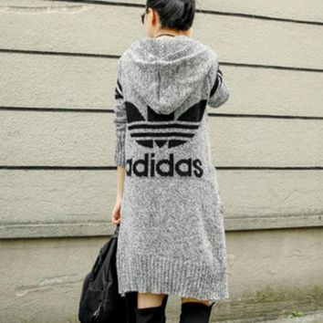 ADIDAS Hooded sweater knit grey cardigan