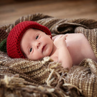 Crochet Apple Hat Fall Autumn Newborn Photo Prop