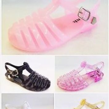 Girl's Youth T-Strap Retro Rain Jelly Flat Sandals Shoes NEW Jelly-28/29K
