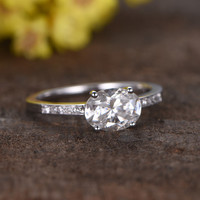 1.5 Carat Oval Moissanite Engagement Ring Diamond 14k White Gold Unique E-W Direction