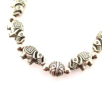 Elephants Beads Shaped Charm Bracelet in Silver | DOTOLY