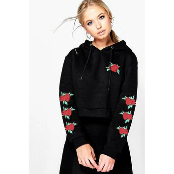 Flowers Embroidery Drawstring Crop Top Short Hoodie