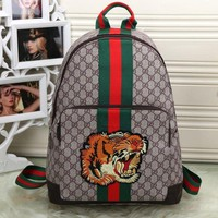 Gucci Trending Women Men Leather Tiger Angry Cat Embroidery Letter Print Zipper School Bookbag Backpack I