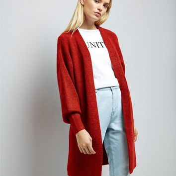 Red Balloon Sleeve Cardigan | New Look