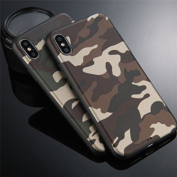 Cool Army Green Camouflage Phone Case cover For iphone X 8 8plus 7 7Plus 6 6s 6Plus 5 5s SE  Silicone coque fundas capinha for i
