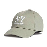 Cotton cap - Khaki green/New York - Ladies | H&M CA