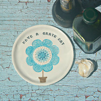 Flower Ceramic Grater - Food Prep Accessory for the Home Chef with Unique inspirational Message Quote, Oil dipping Plate