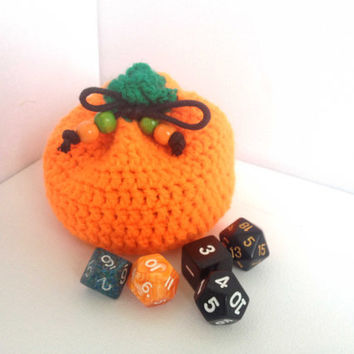 Small Pumpkin Bag, Dice Bag, Small Halloween Bag, Orange Yarn Bag, Counter or Game Piece Bag, Neon Orange Bag, Small Coin Purse, Crochet Bag