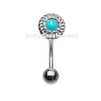Round Rope Turquoise Curved Barbell Eyebrow Ring Rook Daith Ring 16ga Body Jewelry