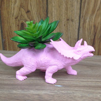 Up-cycled Baby Pink Triceratops Planter