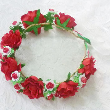 Red rose headpiece White red color Mixed size rose headpiece/ Big Rose hair wreaths/ Rose crown