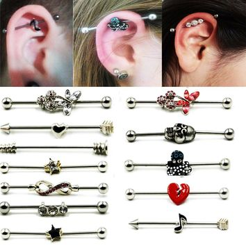 1Pcs Hot sale Surgical Steel Industrial Barbell Ring Charming Earring Industrial Barbell Body Piercing Earrings Jewelry