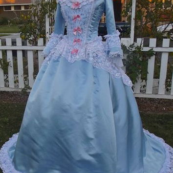 Blue & Pink Fantasy Marie Antoinette Gown Carnivale Costume...Size Small In Stock