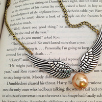 LAST ONE- Harry Potter Inspired Golden Snitch Necklace. Silver Wings. Antique Gold Chain. Champagne Gold Pearl. Magic. Witch. Wizard.
