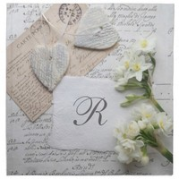 Romantic old script with hearts napkin