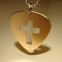 Medieval inspired bronze guitar pick pendant with cross cut out