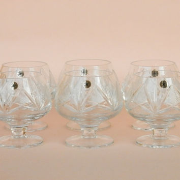 Set of 6 vintage whisky crystal glasses.