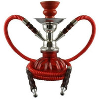 "Mini 10"" Red 2 Hose Hookah Shisha With Pumpkin Vase Set - Complete Kit With Bowl, Tray, Tongs, and 2 Hoses"