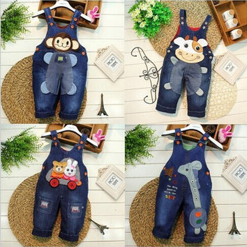 Spring Autumn kids overall jeans clothes newborn baby bebe denim overalls jumpsuits for toddler infant boys girls bib pants 0-2Y