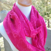 Pink infinite Gauze Scarf with floral prints