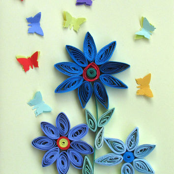 Quilling Card with Quilled Paper Flowers and 3D Butterflyies