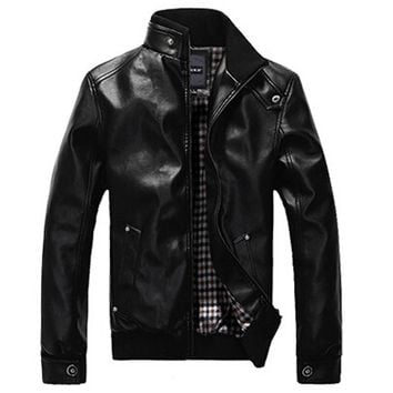 Winter Man Leather clothing Fashion Pu Clothing Stand Collar With Plush Men Jacket Thicken Coat Tops