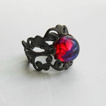 Dragon's Breath Mexican Fire Opal Gunmetal Filigree Ring