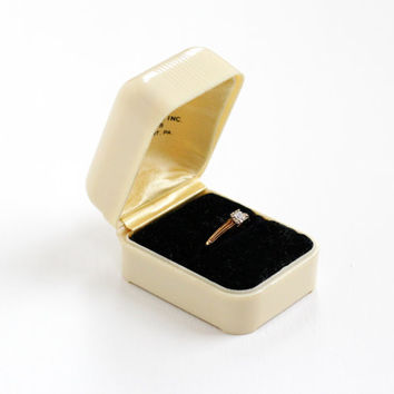Vintage Celluloid Ring Box - Art Deco 1930s 1940s Cream Colored Proposal Presentation Box, With Black Velvet Lining