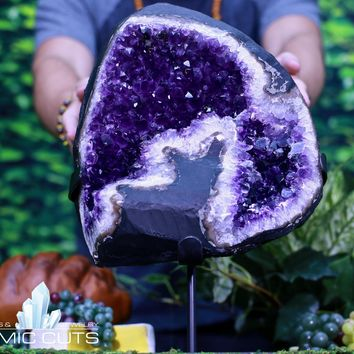 Uruguayan Amethyst Geode w Stand Crystal Cluster 16.00 CC-100s