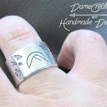 Mountain Ring Silver Jewelry, Mountain Ring Men Gifts, Desert Themed Gift, Mountains Birthday Gifts, Southwestern Jewelry Rings
