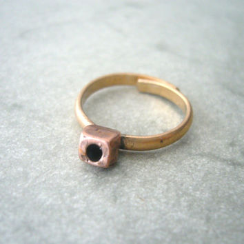 Geometric cube brass ring