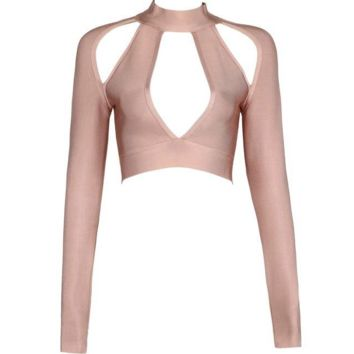 Cina Nude Cut Out Crop Top