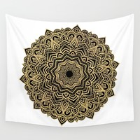 Moon Flower of wisdom Wall Tapestry by Azima