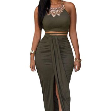 Chicloth Olive Faux Suede Two Piece Maxi Skirt Set