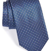 Men's Canali Woven Silk Tie, Size Regular - Blue