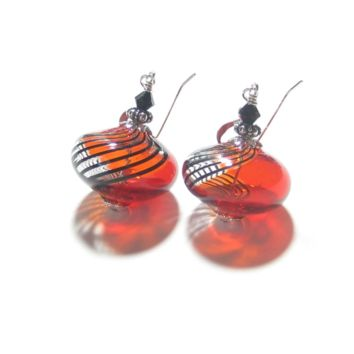 Murano Mouth Blown Glass Red Black Sterling Silver Earrings