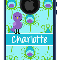 OTTERBOX Defender iPhone 5 5S 5C 4/4S iPod Touch 5G Case FEATHERS Peacock Bird Aqua Purple Name Initials Personalized Monogram